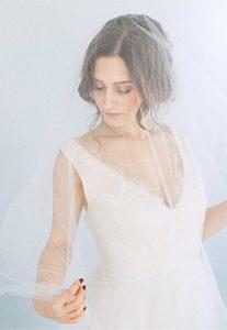 women in wedding gown with veil
