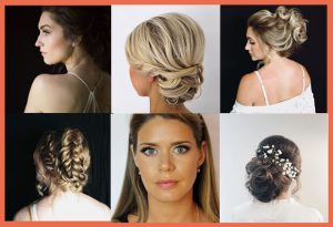 collage of hairstyles including soft tousled locks, fishtail braids, florals in hair, and beautiful classic makeup