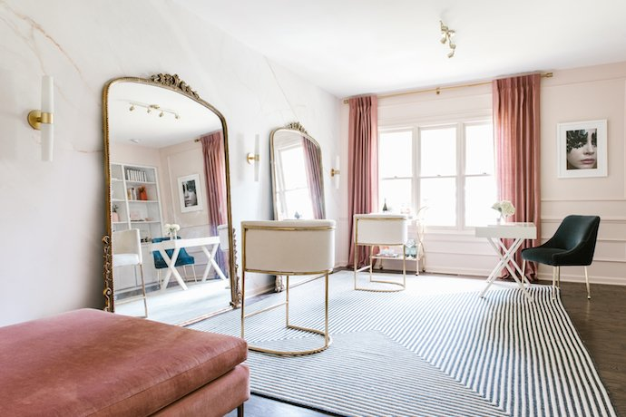 Gorgeous Studio with Gold Chairs and Floor Length Gold Mirror, Pink Curtains and Marble Wall