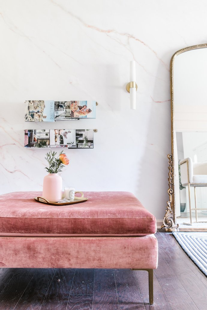 Gorgeous Studio with Gold Chairs and Floor Length Gold Mirror, Pink Ottoman and Marble Wall